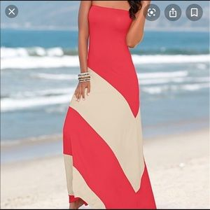 Venus coral and cream strapless dress